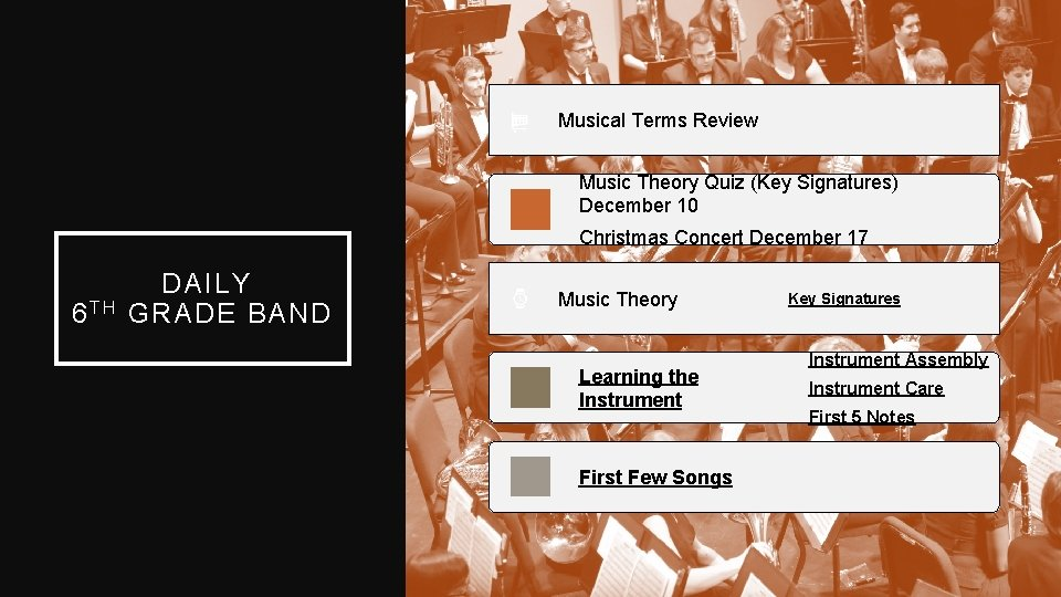 Musical Terms Review Music Theory Quiz (Key Signatures) December 10 Christmas Concert December 17