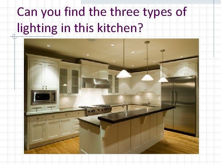 Can you find the three types of lighting in this kitchen?
