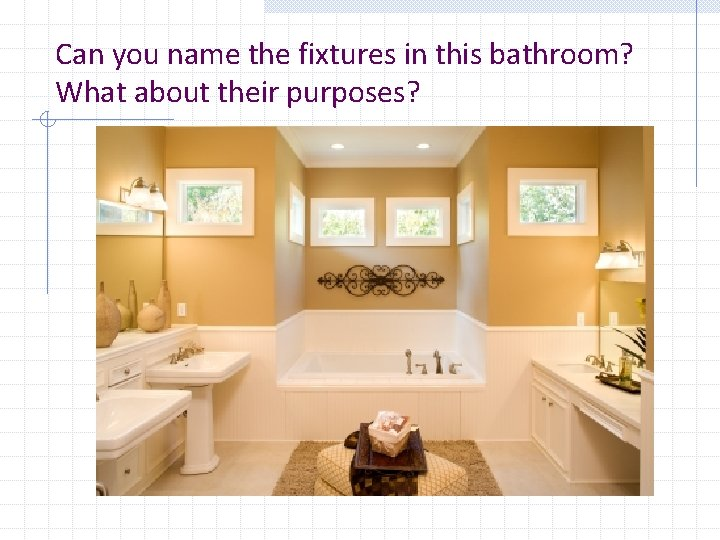 Can you name the fixtures in this bathroom? What about their purposes?