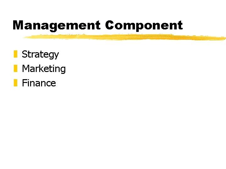 Management Component z Strategy z Marketing z Finance