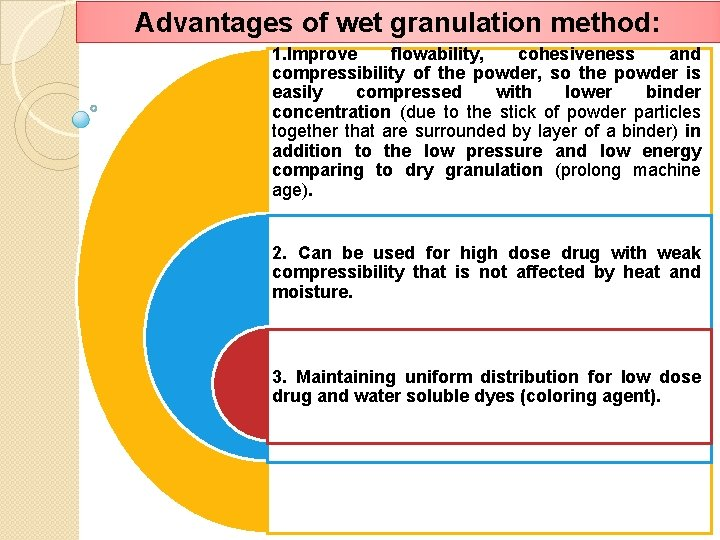 Advantages of wet granulation method: 1. Improve flowability, cohesiveness and compressibility of the powder,
