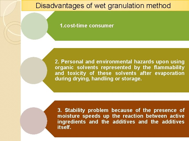 Disadvantages of wet granulation method 1. cost-time consumer 2. Personal and environmental hazards upon