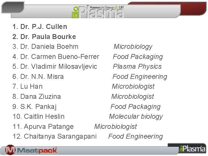 1. Dr. P. J. Cullen 2. Dr. Paula Bourke 3. Dr. Daniela Boehm Microbiology