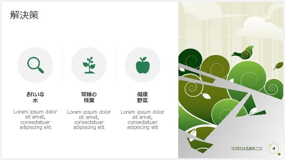 解決策 きれいな 水 常緑の 枝葉 健康 野菜 Lorem ipsum dolor sit amet, consectetuer adipiscing
