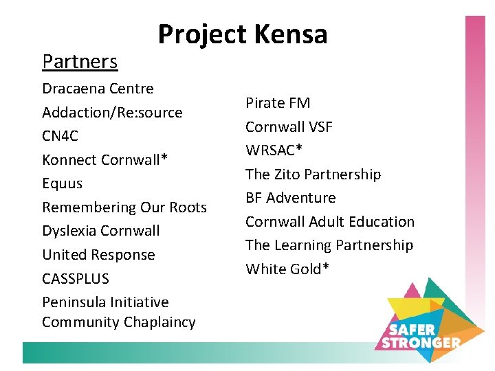 Partners Project Kensa Dracaena Centre Addaction/Re: source CN 4 C Konnect Cornwall* Equus Remembering