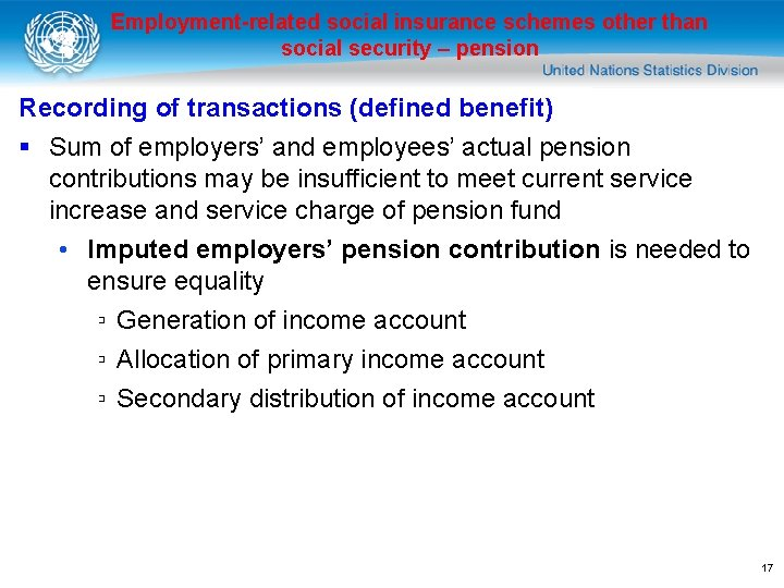 Employment-related social insurance schemes other than social security – pension Recording of transactions (defined