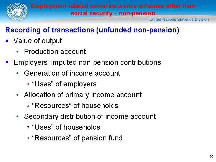Employment-related social insurance schemes other than social security – non-pension Recording of transactions (unfunded