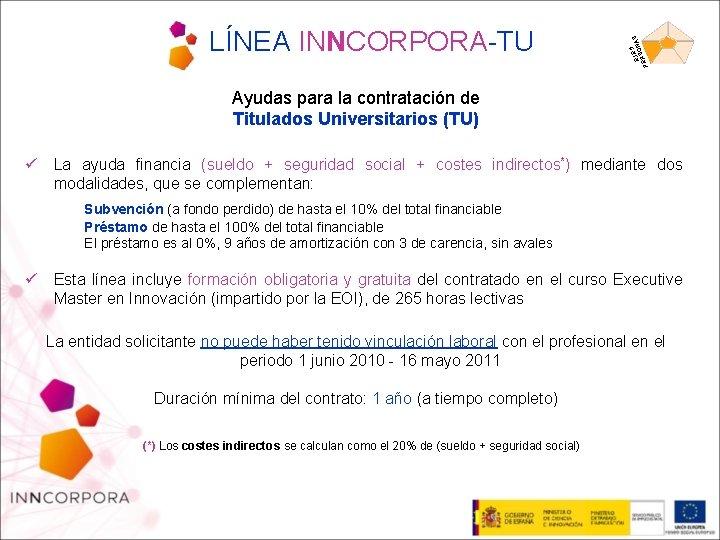 5 EJEONAS S PER LÍNEA INNCORPORA-TU Ayudas para la contratación de Titulados Universitarios (TU)