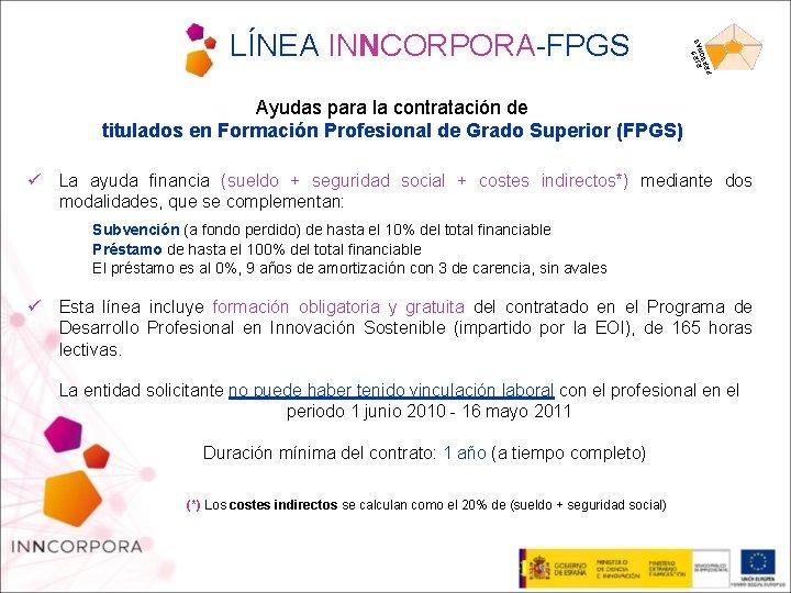 5 EJEONAS S PER LÍNEA INNCORPORA-FPGS Ayudas para la contratación de titulados en Formación