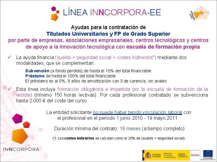 5 EJEONAS S PER LÍNEA INNCORPORA-EE Ayudas para la contratación de Titulados Universitarios y