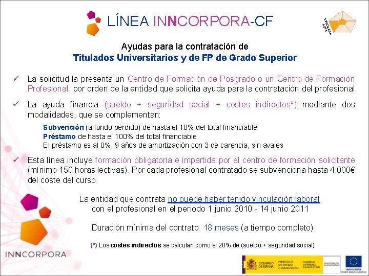 5 EJEONAS S PER LÍNEA INNCORPORA-CF Ayudas para la contratación de Titulados Universitarios y