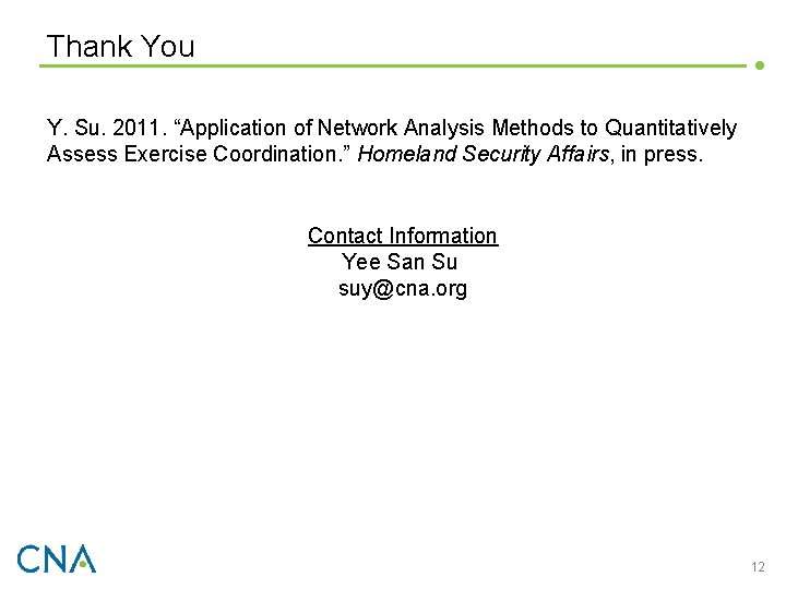 """Thank You Y. Su. 2011. """"Application of Network Analysis Methods to Quantitatively Assess Exercise"""