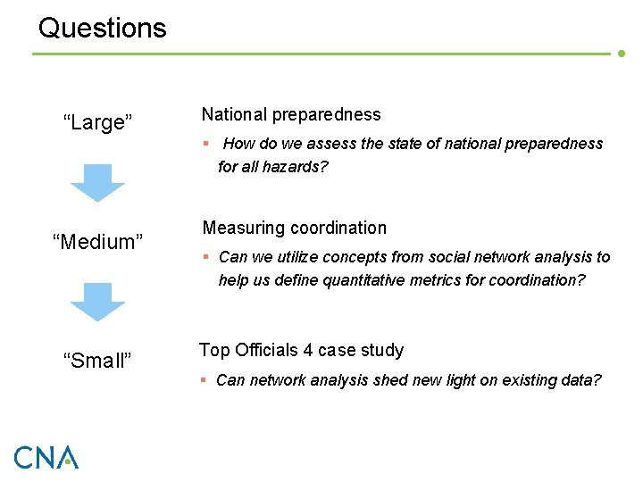 """Questions """"Large"""" National preparedness § How do we assess the state of national preparedness"""