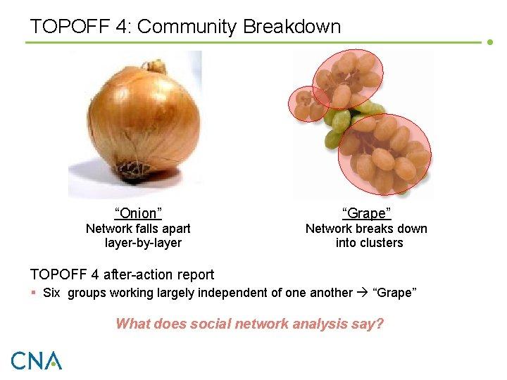 "TOPOFF 4: Community Breakdown ""Onion"" ""Grape"" Network falls apart layer-by-layer Network breaks down into"