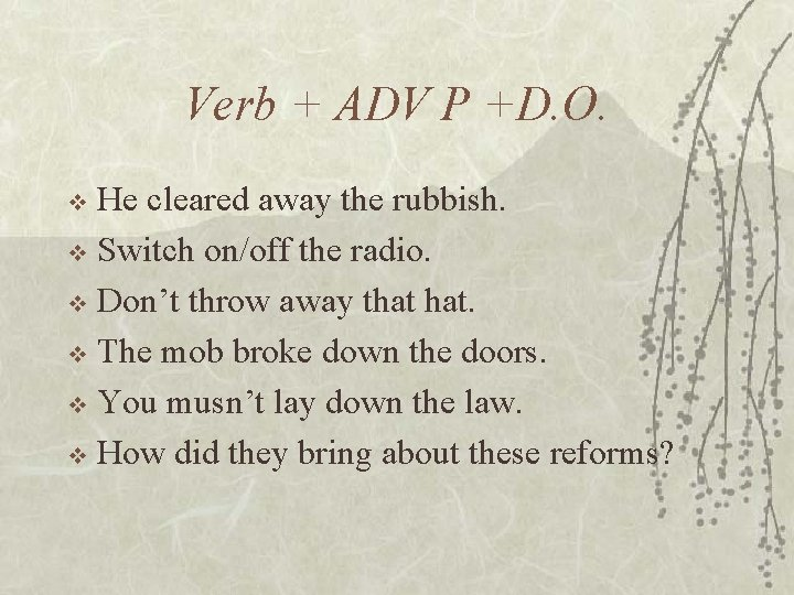Verb + ADV P +D. O. He cleared away the rubbish. v Switch on/off