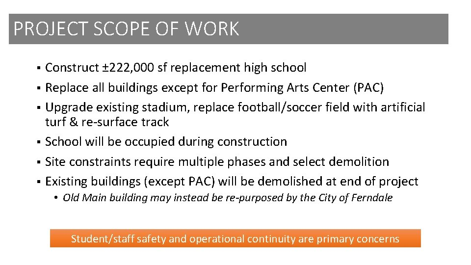 PROJECT SCOPE OF WORK Construct ± 222, 000 sf replacement high school § Replace