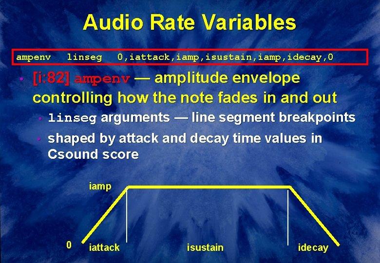 Audio Rate Variables ampenv • linseg 0, iattack, iamp, isustain, iamp, idecay, 0 [i: