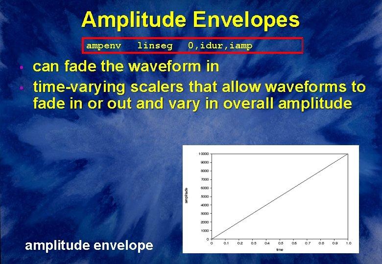 Amplitude Envelopes ampenv • • linseg 0, idur, iamp can fade the waveform in