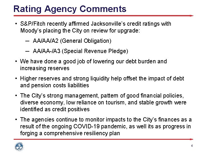 Rating Agency Comments • S&P/Fitch recently affirmed Jacksonville's credit ratings with Moody's placing the