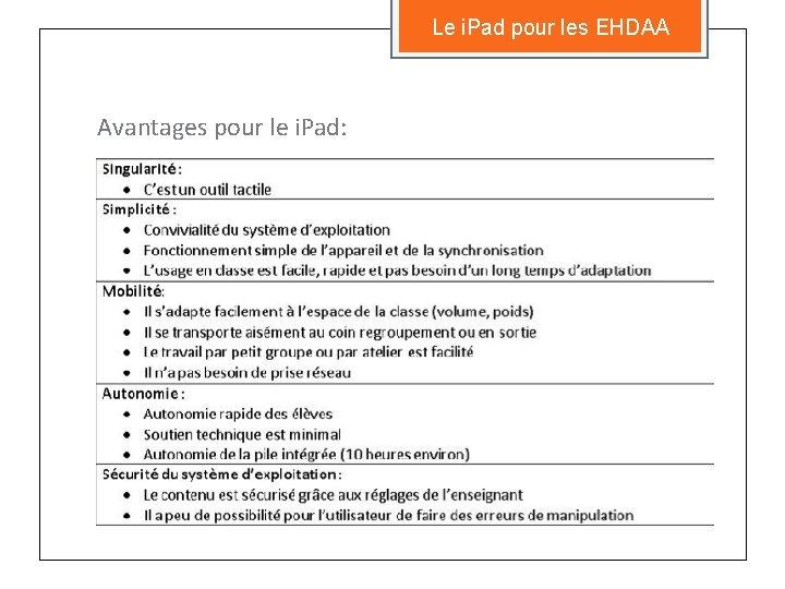 Le i. Pad pour les EHDAA Avantages pour le i. Pad: