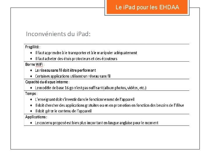 Le i. Pad pour les EHDAA Inconvénients du i. Pad: