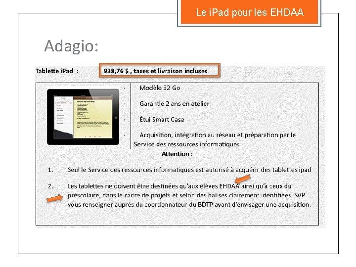 Le i. Pad pour les EHDAA Adagio: