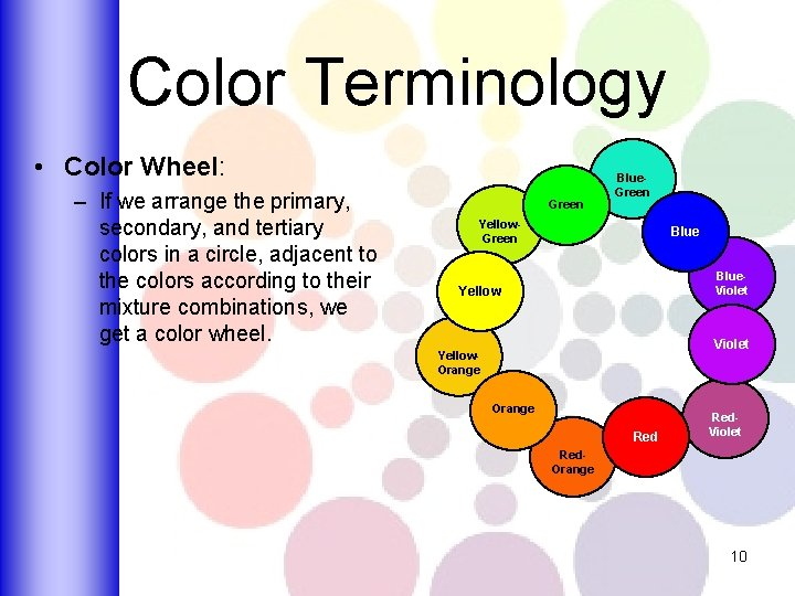 Color Terminology • Color Wheel: – If we arrange the primary, secondary, and tertiary
