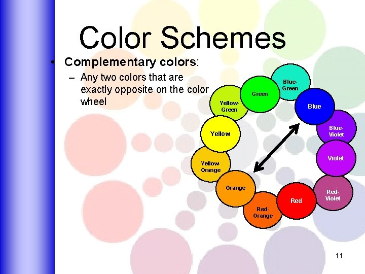 Color Schemes • Complementary colors: – Any two colors that are exactly opposite on