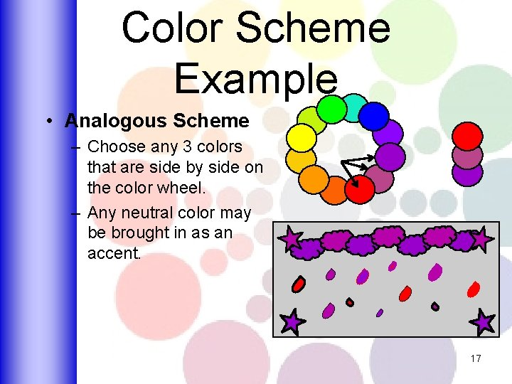 Color Scheme Example • Analogous Scheme – Choose any 3 colors that are side