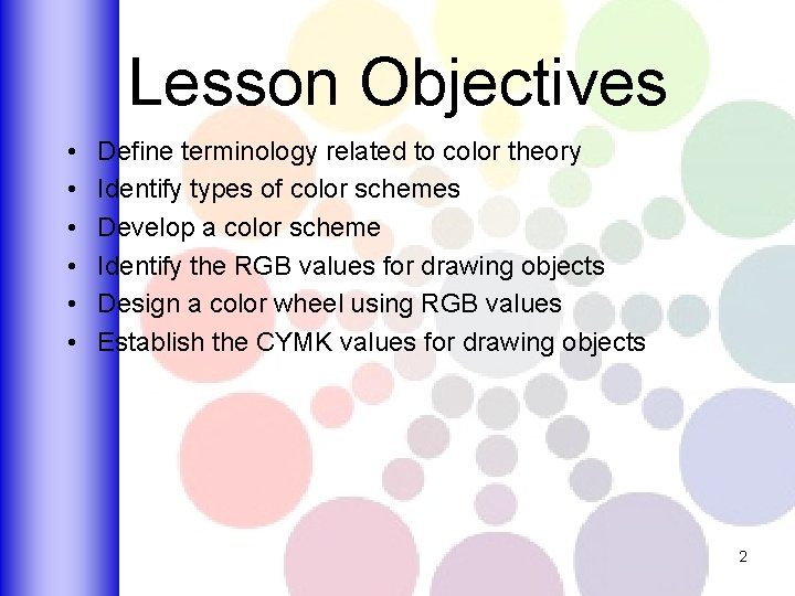 Lesson Objectives • • • Define terminology related to color theory Identify types of