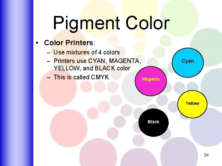 Pigment Color • Color Printers: – Use mixtures of 4 colors – Printers use