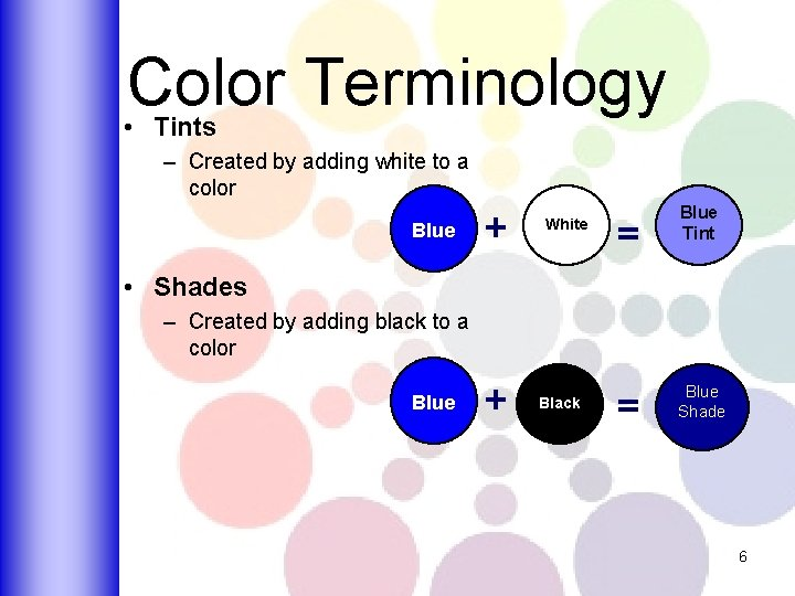 Color Terminology • Tints – Created by adding white to a color Blue +