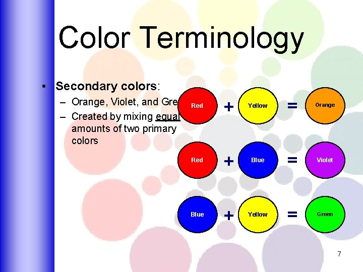 Color Terminology • Secondary colors: – Orange, Violet, and Green Red – Created by