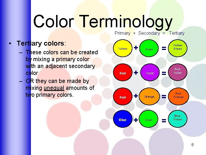 Color Terminology Primary + Secondary = Tertiary • Tertiary colors: – These colors can