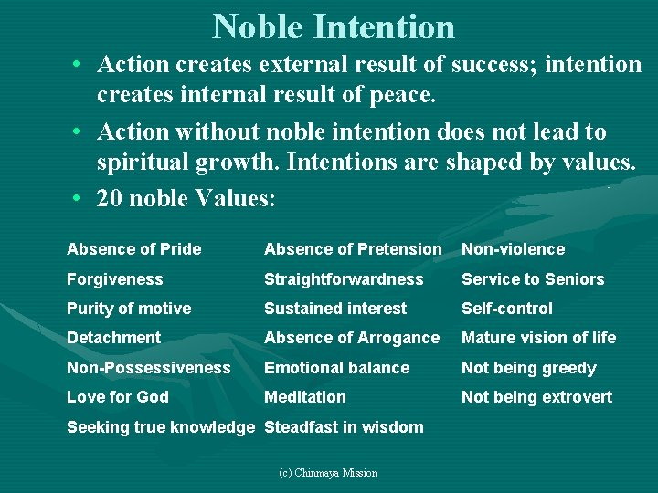 Noble Intention • Action creates external result of success; intention creates internal result of