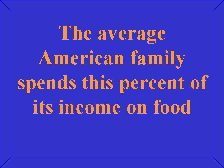 The average American family spends this percent of its income on food