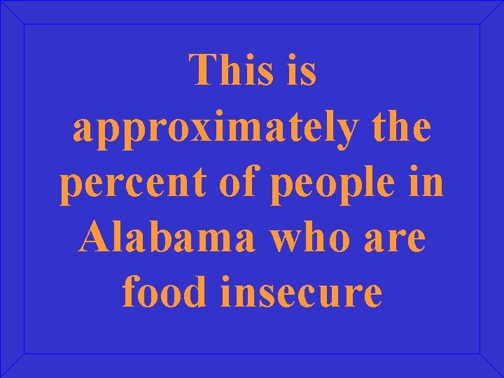 This is approximately the percent of people in Alabama who are food insecure