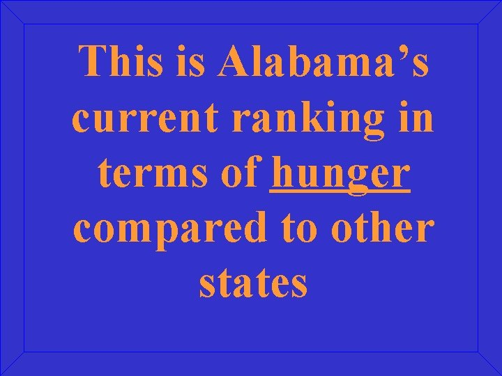 This is Alabama's current ranking in terms of hunger compared to other states