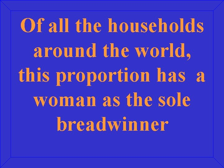 Of all the households around the world, this proportion has a woman as the