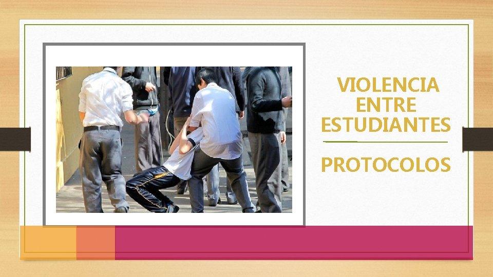 VIOLENCIA ENTRE ESTUDIANTES PROTOCOLOS