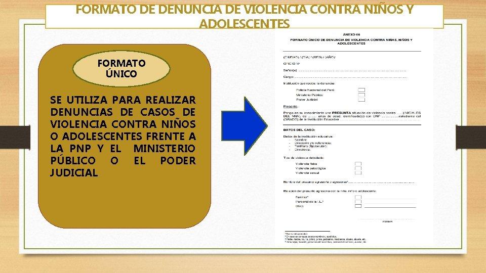 FORMATO DE DENUNCIA DE VIOLENCIA CONTRA NIÑOS Y ADOLESCENTES FORMATO ÚNICO SE UTILIZA PARA