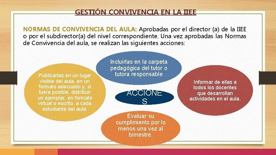 GESTIÓN CONVIVENCIA EN LA IIEE NORMAS DE CONVIVENCIA DEL AULA: Aprobadas por el director