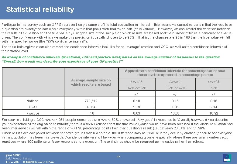 Statistical reliability Participants in a survey such as GPPS represent only a sample of