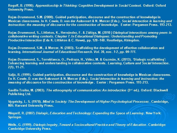 Rogoff, B. (1990). Apprenticeship in Thinking: Cognitive Development in Social Context. Oxford: Oxford University
