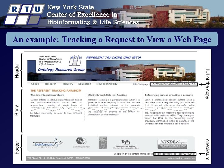 R T U New York State Center of Excellence in Bioinformatics & Life Sciences