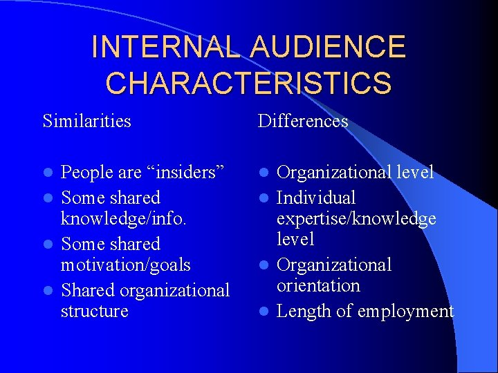"""INTERNAL AUDIENCE CHARACTERISTICS Similarities Differences People are """"insiders"""" l Some shared knowledge/info. l Some"""