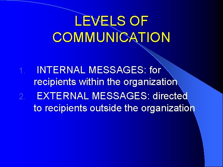 LEVELS OF COMMUNICATION INTERNAL MESSAGES: for recipients within the organization 2. EXTERNAL MESSAGES: directed