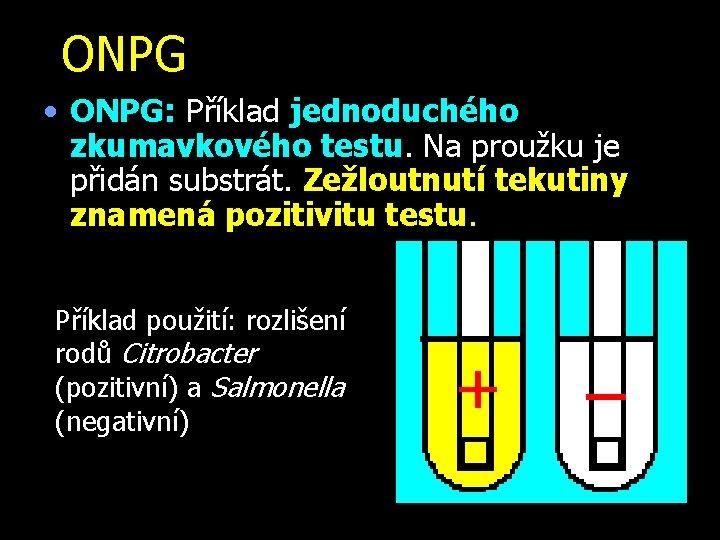 ONPG • ONPG: Příklad jednoduchého zkumavkového testu. Na proužku je přidán substrát. Zežloutnutí tekutiny