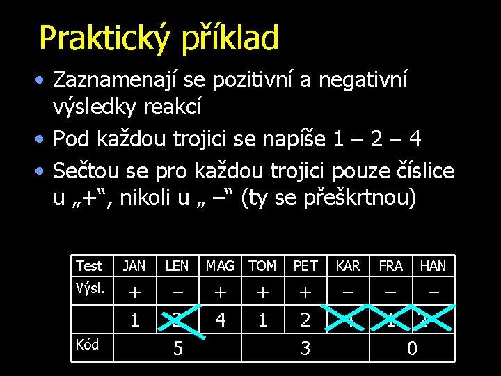 Praktický příklad • Zaznamenají se pozitivní a negativní výsledky reakcí • Pod každou trojici