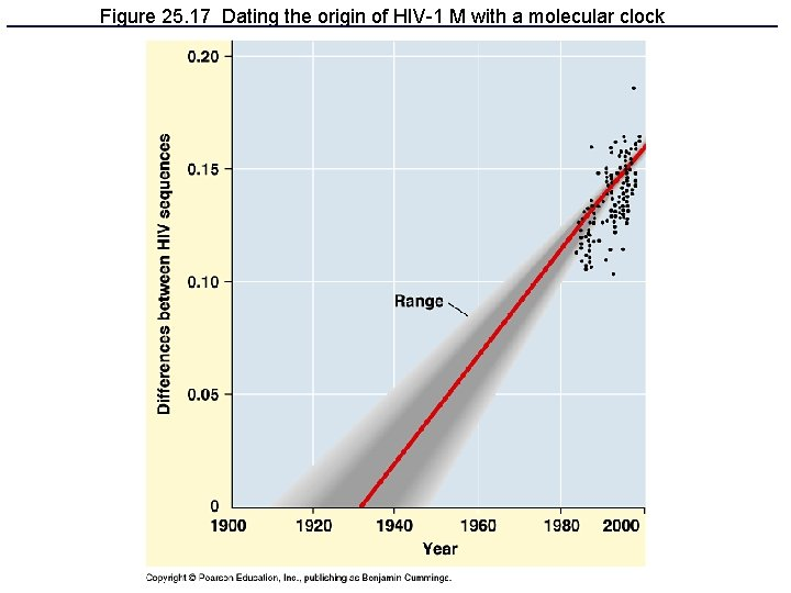 Figure 25. 17 Dating the origin of HIV-1 M with a molecular clock
